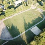 Drona foto objekts futbola laukums